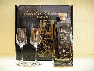 AC Alambic´s Spezial Islay Gin 7y 65,1 %Vol 0,7 l Schatulle mit zwei Gläsern